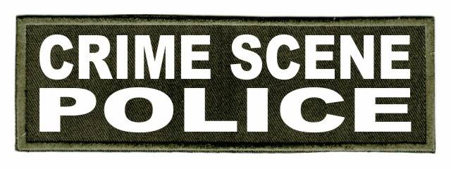 CRIME SCENE POLICE Patch - 6x2 - White Lettering - OD Green Twill Backing