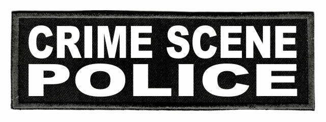 CRIME SCENE POLICE Patch - 6x2 - White Lettering - Black Twill Backing