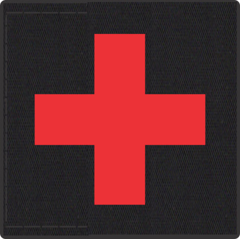Cross Medic Patch - Red on Black Backing - 2 x 2 Square