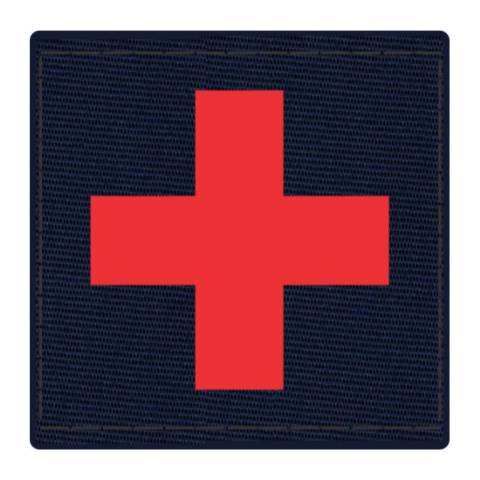 Cross Medic Patch - Red on Navy Backing - 2 x 2 Square
