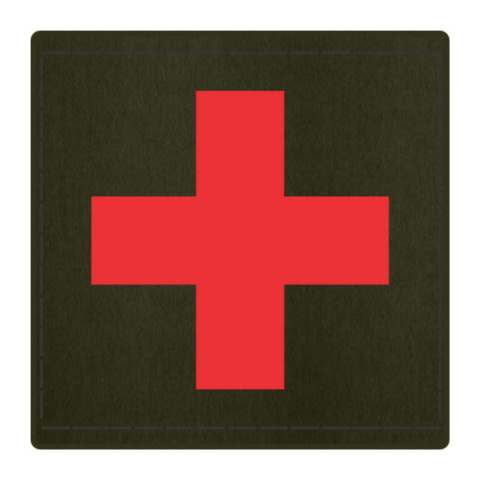 Cross Medic Patch - Red on OD Green Backing - 2 x 2 Square