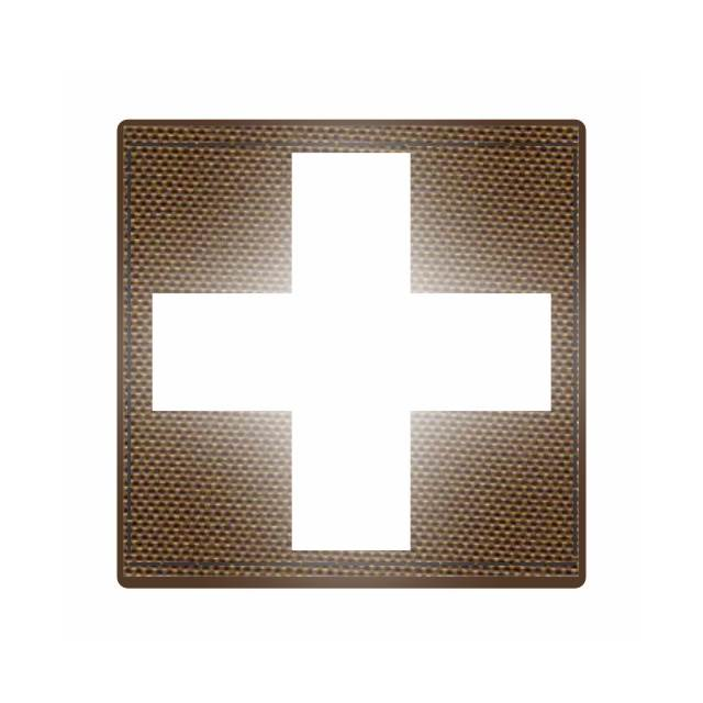 Cross Medic Patch - Reflective White - Coyote Backing - 2 x 2 Square