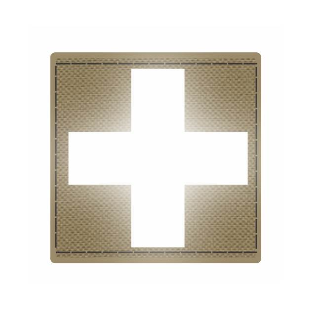 Cross Medic Patch - Reflective White - Tan Backing - 2 x 2 Square