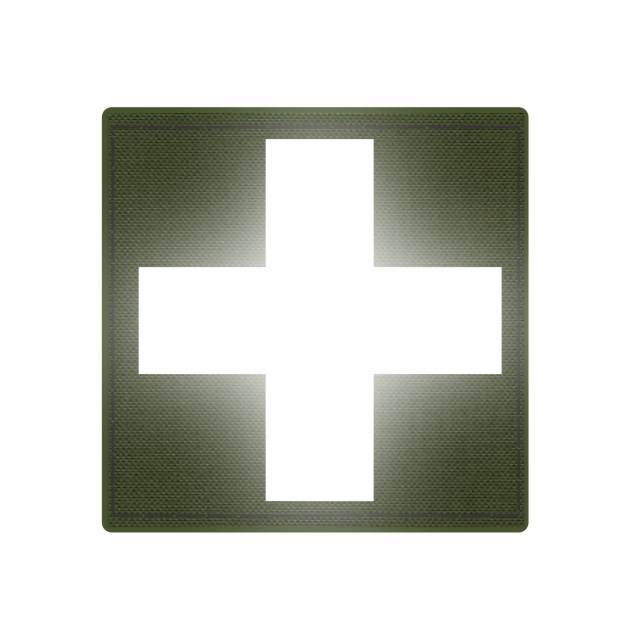 Cross Medic Patch - Reflective White - OD Green Backing - 2 x 2 Square