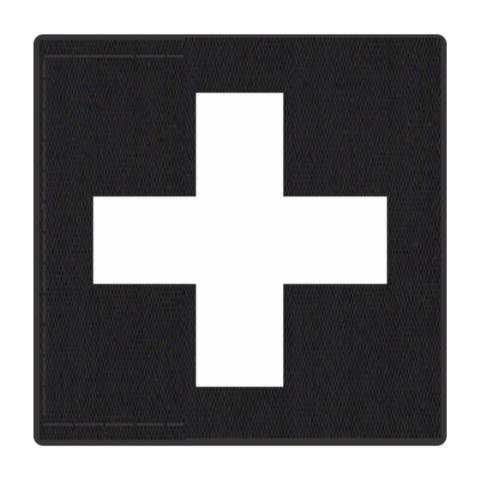 Cross Medic Patch - White on Black Backing - 2 x 2 Square