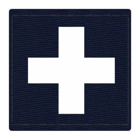 Cross Medic Patch - White on Navy Backing - 2 x 2 Square