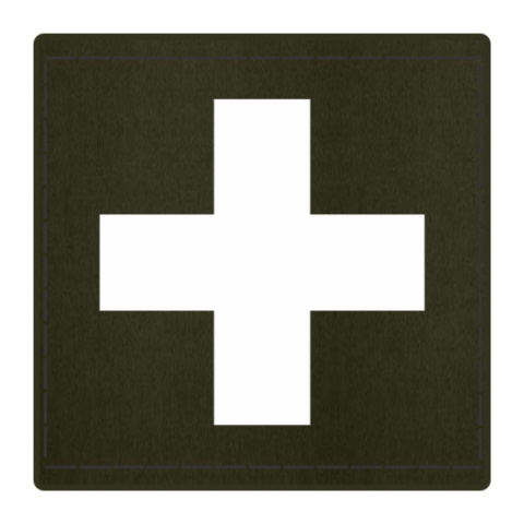 Cross Medic Patch - White on OD Green Backing - 2 x 2 Square