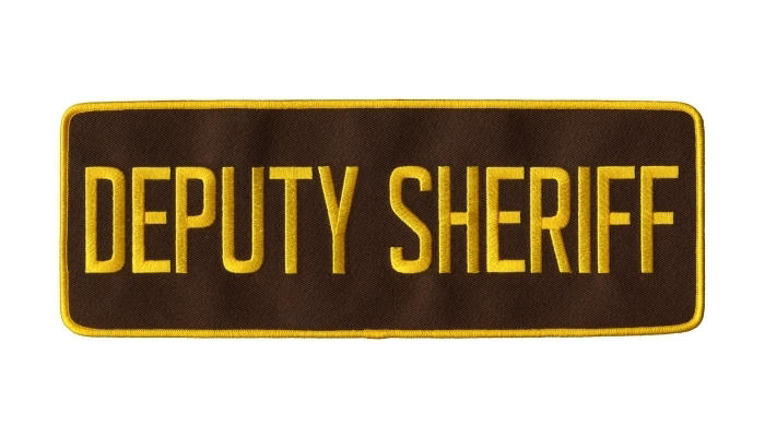 DEPUTY SHERIFF Back Patch - 11 x 4 - Med Gold Lettering - Brown Backing