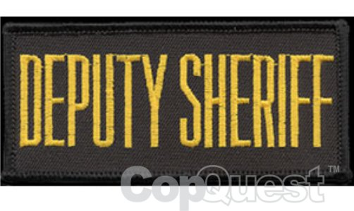 DEPUTY SHERIFF Chest Patch - 4 x 2 - Med Gold Lettering - Black Backing