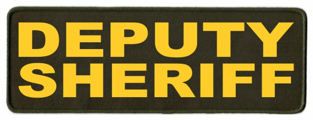DEPUTY SHERIFF ID Patch - 11x4 - Gold Lettering - OD Green Twill Backing