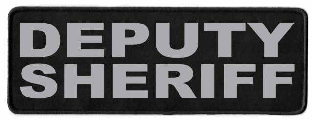 DEPUTY SHERIFF ID Patch - 11x4 - Gray Lettering - Black Twill Backing