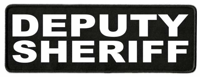 DEPUTY SHERIFF ID Patch - 11x4 - White Lettering - Black Twill Backing