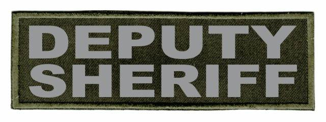 DEPUTY SHERIFF ID Patch - 6x2 - Gray Lettering - OD Green Twill Backing