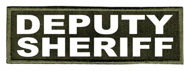 DEPUTY SHERIFF ID Patch - 6x2 - White Lettering - OD Green Twill Backing