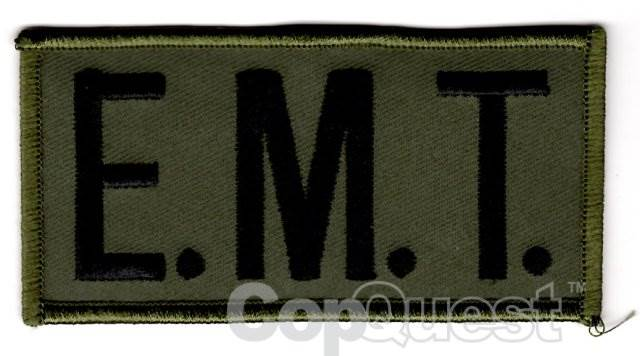 E.M.T. Chest Patch - 4 x 2 - Black Lettering - OD Green Backing