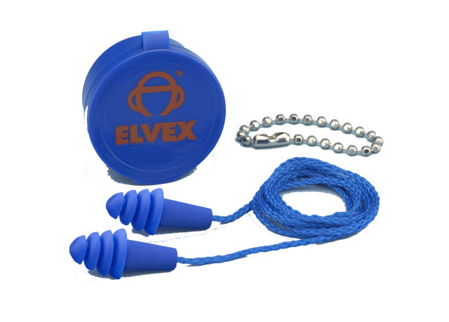 Elvex Quattro Reusable Ear Plugs, Corded - 25 db NRR