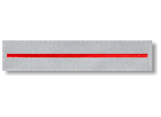 Embroidered Thin Red Line on 5x1 Reflective Tape - Hook Back