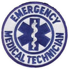 Emergency Medial Technician Patch - Round - 3-1/2-inches - Blue on Reflective White Backing