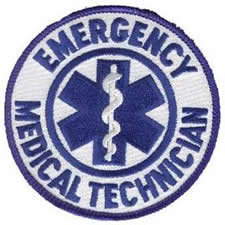 Emergency Medial Technician Patch - Round - 3-1/2 inches - Blue on White Twill