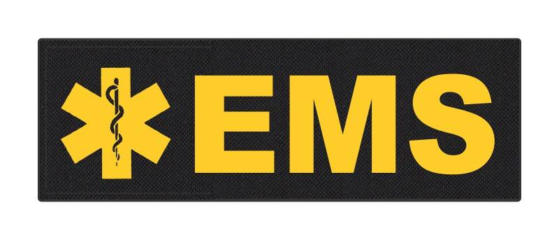 EMS Patch - Star of Life - 6x2 - Gold Lettering - Black Backing - Hook Fabric