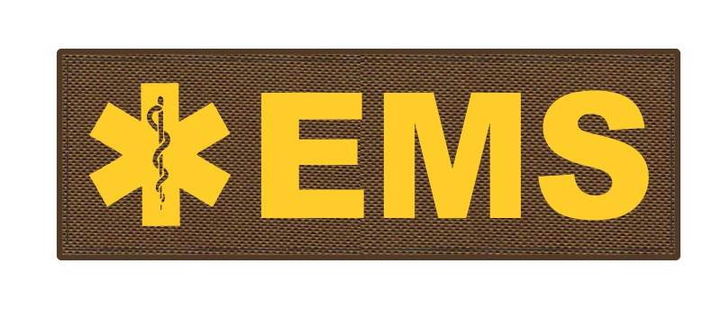 EMS Patch - Star of Life - 6x2 - Gold Lettering - Coyote Backing - Hook Fabric
