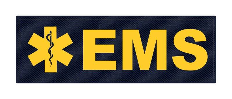EMS Patch - Star of Life - 6x2 - Gold Lettering - Navy Backing - Hook Fabric