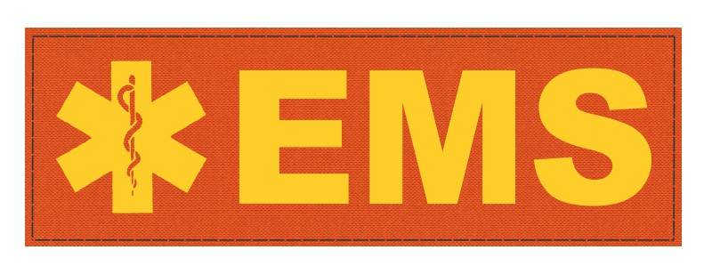 EMS Patch - Star of Life - 6x2 - Gold Lettering - Orange Backing - Hook Fabric
