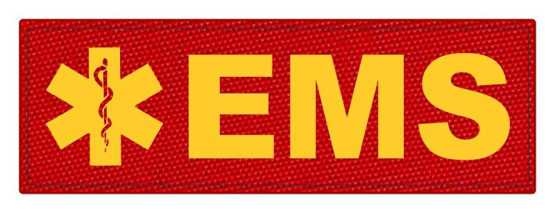EMS Patch - Star of Life - 6x2 - Gold Lettering - Red Backing - Hook Fabric