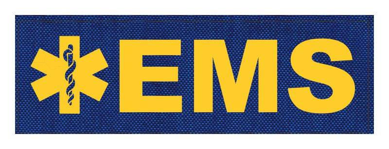 EMS Patch - Star of Life - 6x2 - Gold Lettering - Royal Blue Backing - Hook Fabric