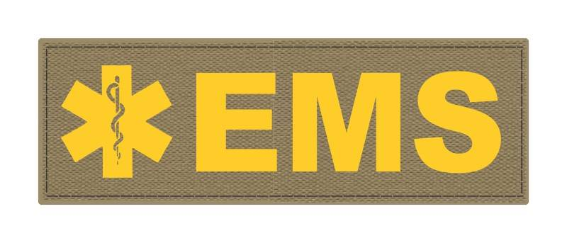 EMS Patch - Star of Life - 6x2 - Gold Lettering - Tan Backing - Hook Fabric