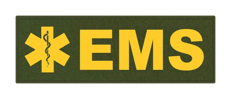 EMS Patch - Star of Life - 6x2 - Gold Lettering - OD Green Backing - Hook Fabric