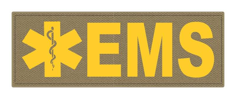 EMS Patch - Star of Life - 8.5x3.0 - Gold Lettering - Tan Backing - Hook Fabric