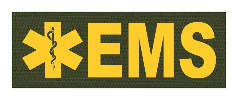EMS Patch - Star of Life - 8.5x3.0 - Gold Lettering - OD Green Backing - Hook Fabric