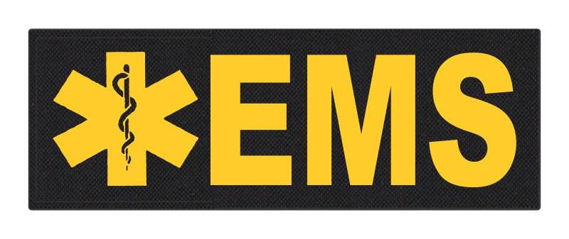 EMS Patch - Star of Life - 8.5x3.0 - Gold Lettering - Black Backing - Hook Fabric