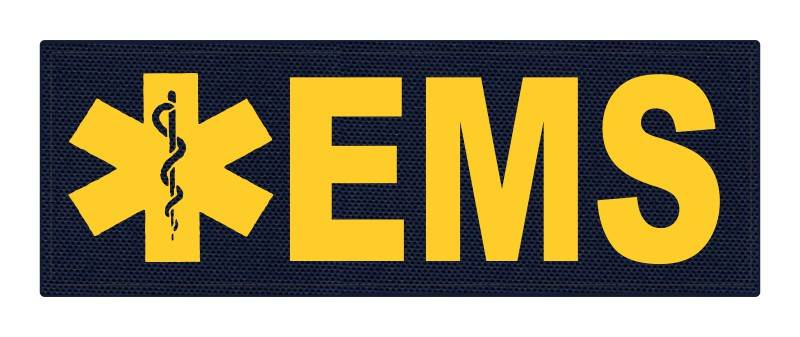 EMS Patch - Star of Life - 8.5x3.0 - Gold Lettering - Navy Backing - Hook Fabric