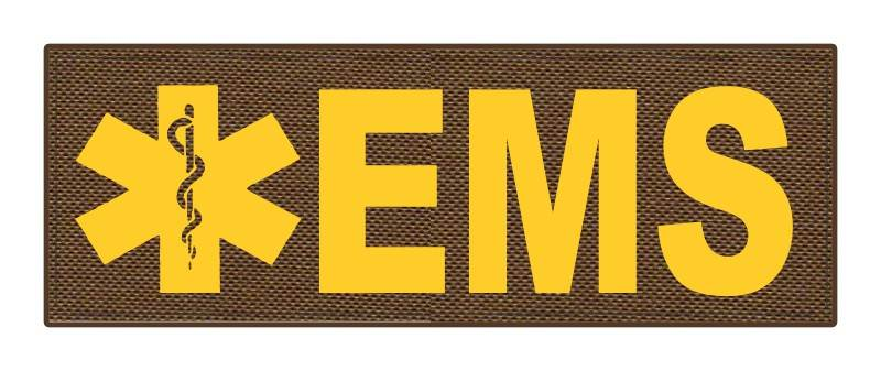 EMS Patch - Star of Life - 8.5x3.0 - Gold Lettering - Coyote Backing - Hook Fabric