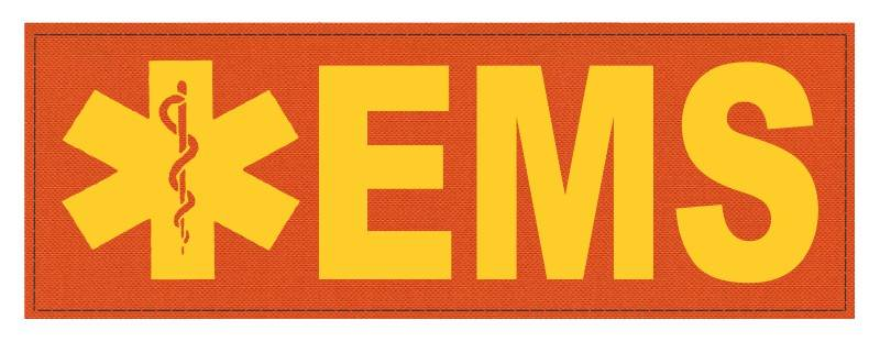 EMS Patch - Star of Life - 8.5x3.0 - Gold Lettering - Orange Backing - Hook Fabric