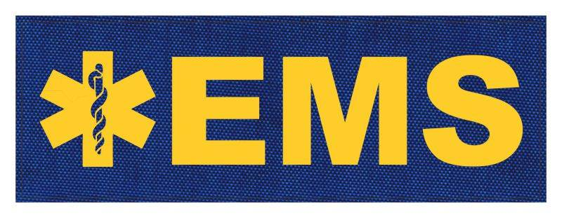 EMS Patch - Star of Life - 8.5x3.0 - Gold Lettering - Royal Blue Backing - Hook Fabric