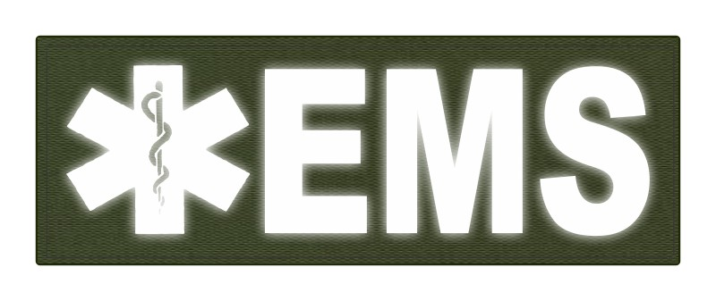 EMS Patch - Star of Life - 8.5x3.0 - Reflective Lettering - OD Green Backing - Hook Fabric