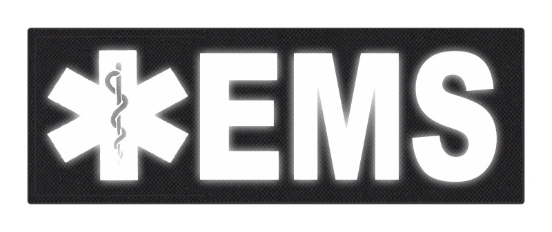 EMS Patch - Star of Life - 8.5x3.0 - Reflective Lettering - Black Backing - Hook Fabric
