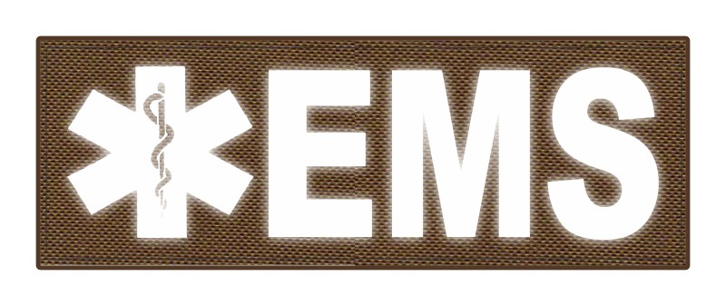EMS Patch - Star of Life - 8.5x3.0 - Reflective Lettering - Coyote Backing - Hook Fabric