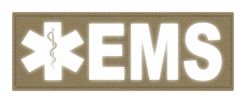 EMS Patch - Star of Life - 8.5x3.0 - Reflective Lettering - Tan Backing - Hook Fabric