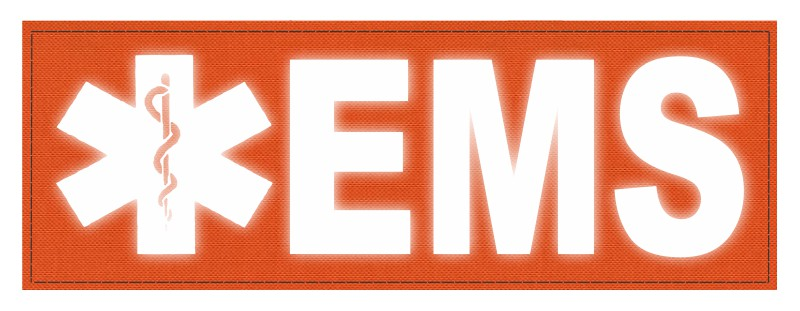 EMS Patch - Star of Life - 8.5x3.0 - Reflective Lettering - Orange Backing - Hook Fabric