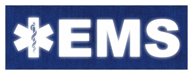 EMS Patch - Star of Life - 8.5x3.0 - Reflective Lettering - Royal Blue Backing - Hook Fabric