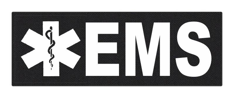 EMS Patch - Star of Life - 8.5x3.0 - White Lettering - Black Backing - Hook Fabric
