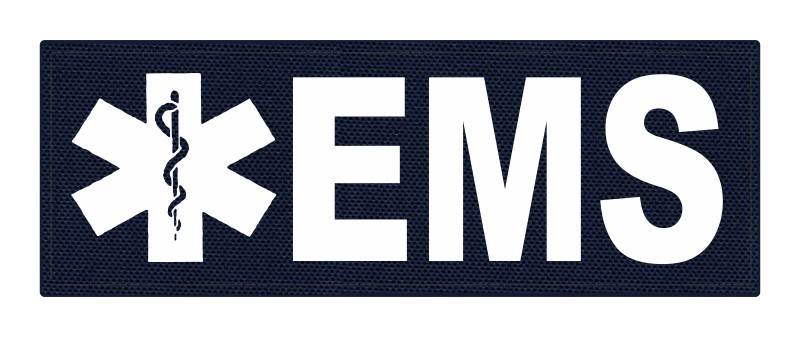 EMS Patch - Star of Life - 8.5x3.0 - White Lettering - Navy Backing - Hook Fabric