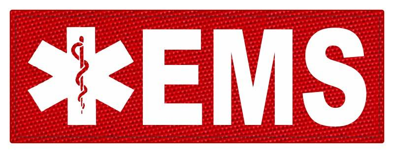 EMS Patch - Star of Life - 8.5x3.0 - White Lettering - Red Backing - Hook Fabric