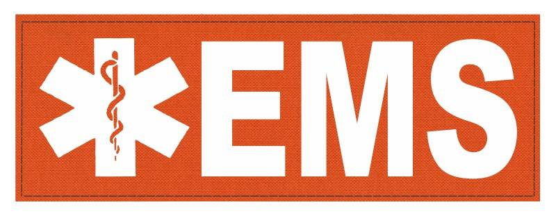 EMS Patch - Star of Life - 8.5x3.0 - White Lettering - Orange Backing - Hook Fabric