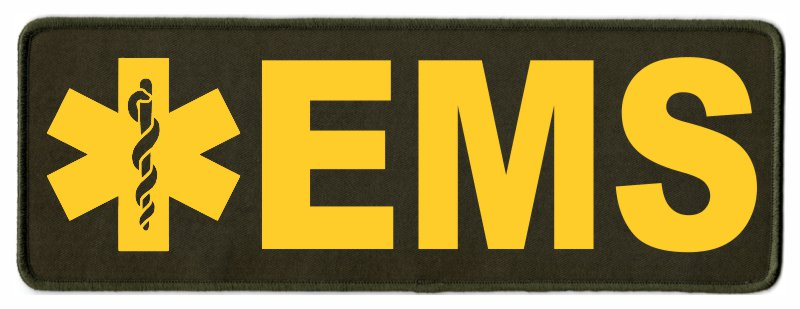 EMS Star of Life ID Patch - 11x4 - Gold Lettering - OD Green Twill Backing