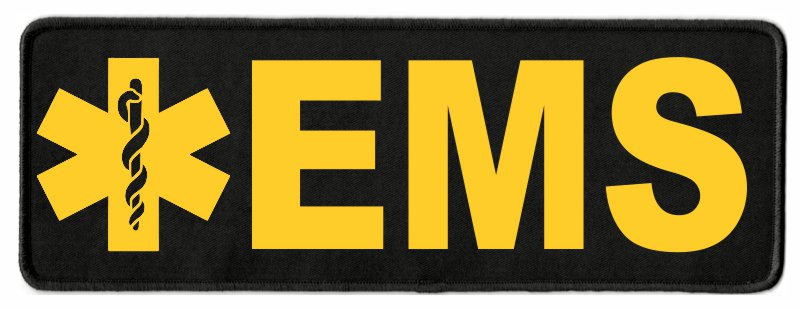 EMS Star of Life ID Patch - 11x4 - Gold Lettering - Black Twill Backing